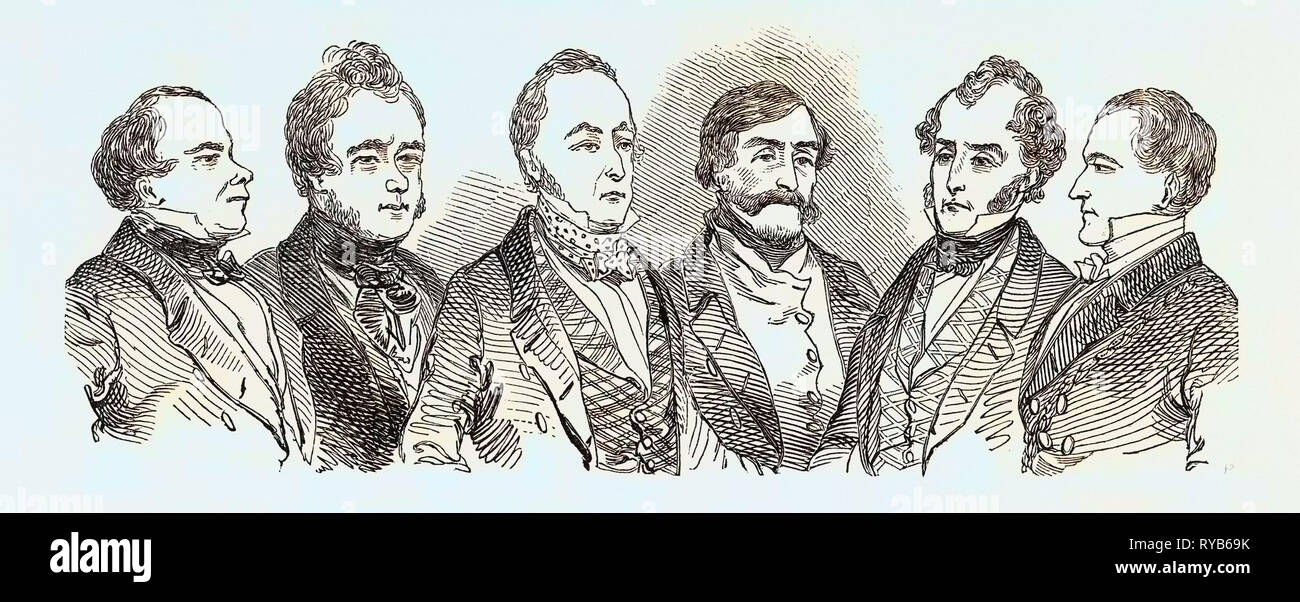 Meeting of the British Association at Southampton, Statistical Section and Visitors: Elton, Esq. (America). Dr. Cooke Taylor. G.R. Porter, Esq. Col. Sykes. James Heywood, Esq. Mayor of Southampton. UK, 1846 - Stock Image