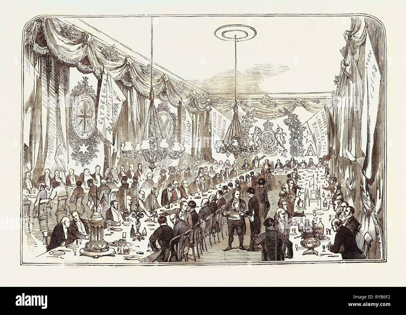 Opening of the Lancaster and Carlisle Railway: The Railway Contractors' Dinner, at the Crown and Mitre Inn, Carlisle, UK, 1846 - Stock Image