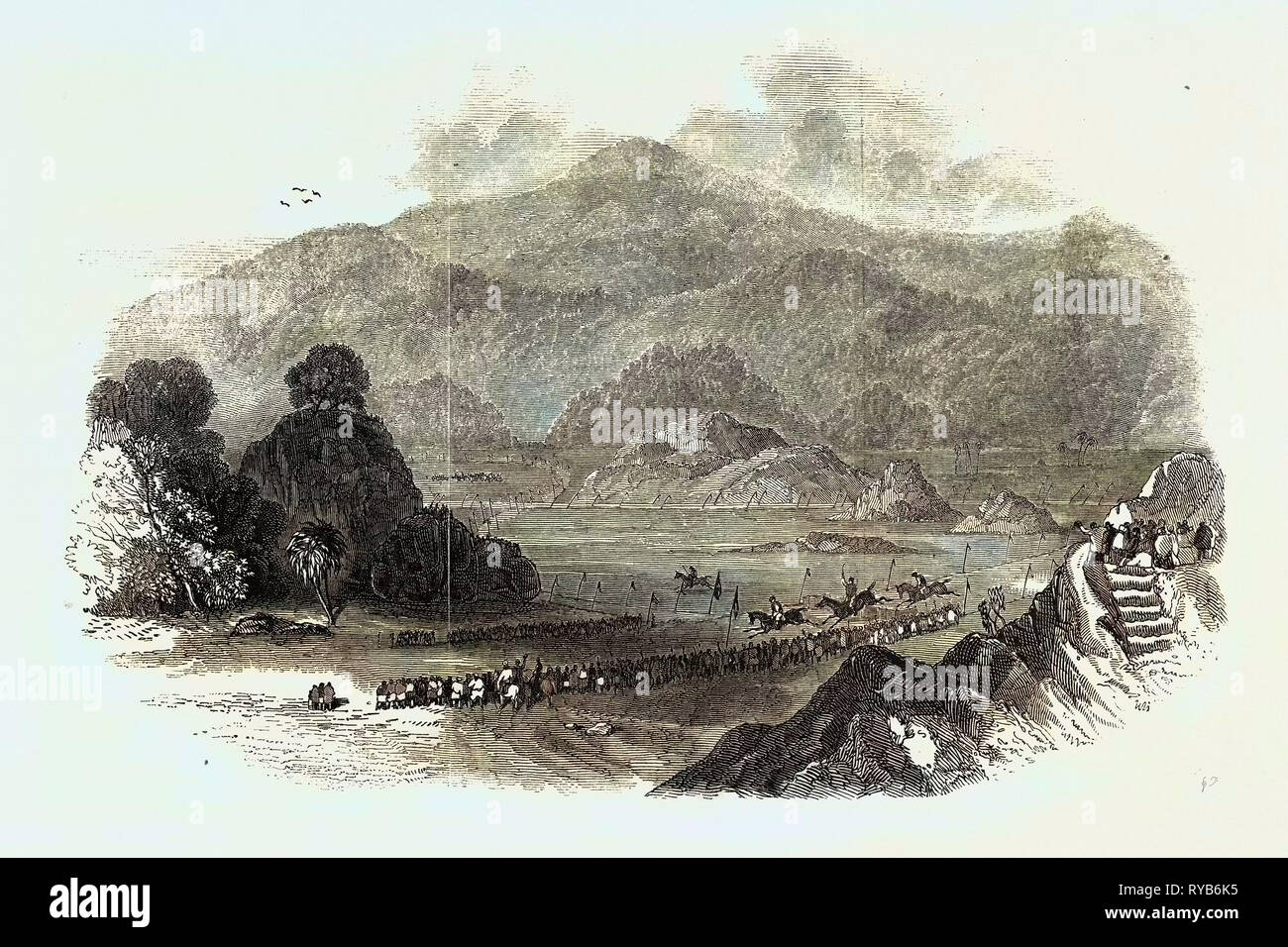 The Races at Aboo, in Bombay, 1847 - Stock Image