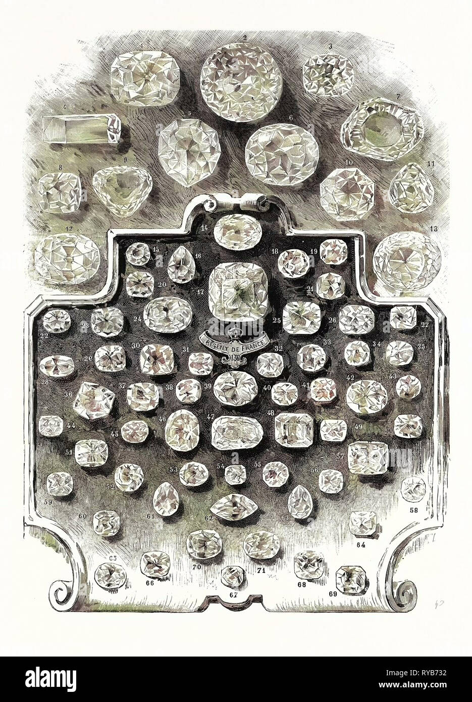 The Largest Diamonds in the World: 1. The English Lottery Diamond. 2. The Great Mogul. 3. The Blue Diamond. 4. The Shah of Russia. 5. The Florentine. 6. The Koh-I-Noor, after Cutting. 7. The Koh-I-Noor, Before Cutting. 8. The Pole-Star. 9. The Nassak. 10. The Pasha of Egypt. 11. The Sancy Diamond. 12. The Star of the South. 13. The Orloff Diamond. 14 to 71. The Regent and Mazarin Diamonds, and Various Diamonds which Have Been Set in Ornaments., 1887 - Stock Image