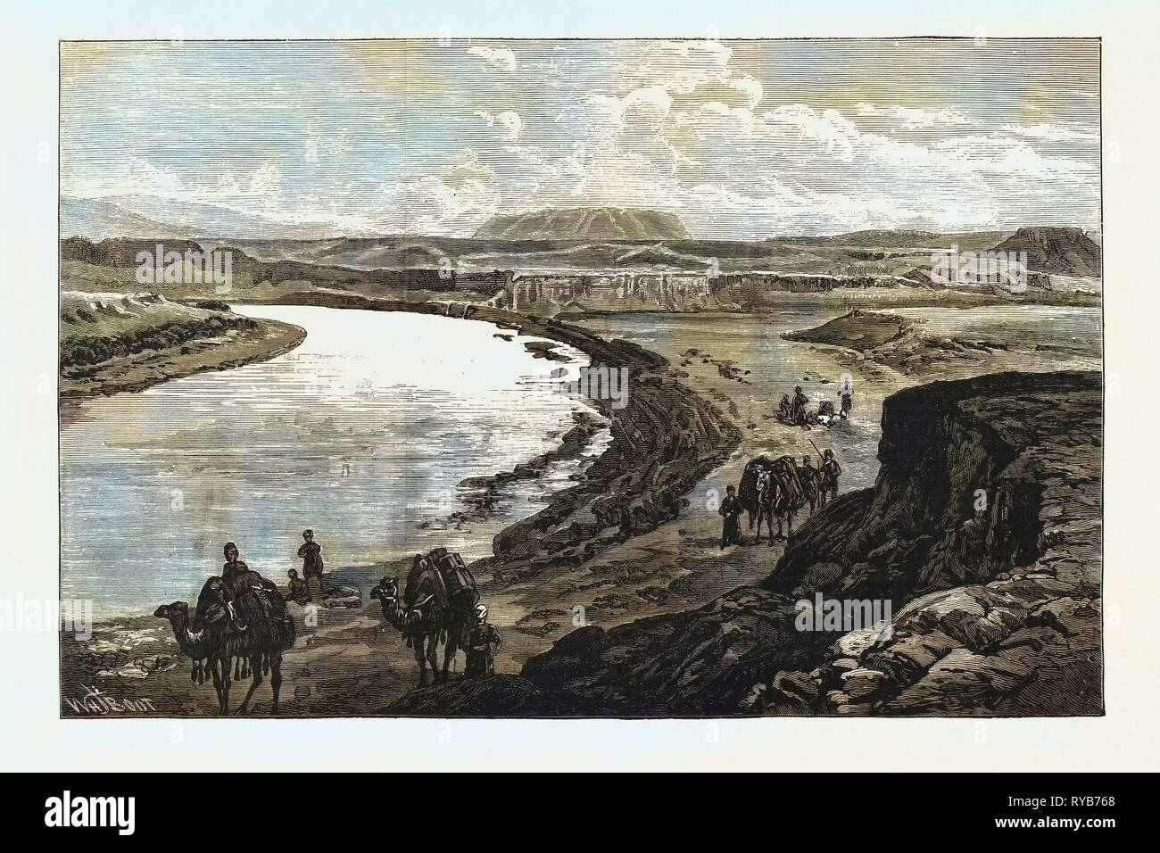 The Afghan Boundary: Junction of the Murghab and Kushk Rivers, Ak-Tapa in the Distance, 1885 - Stock Image