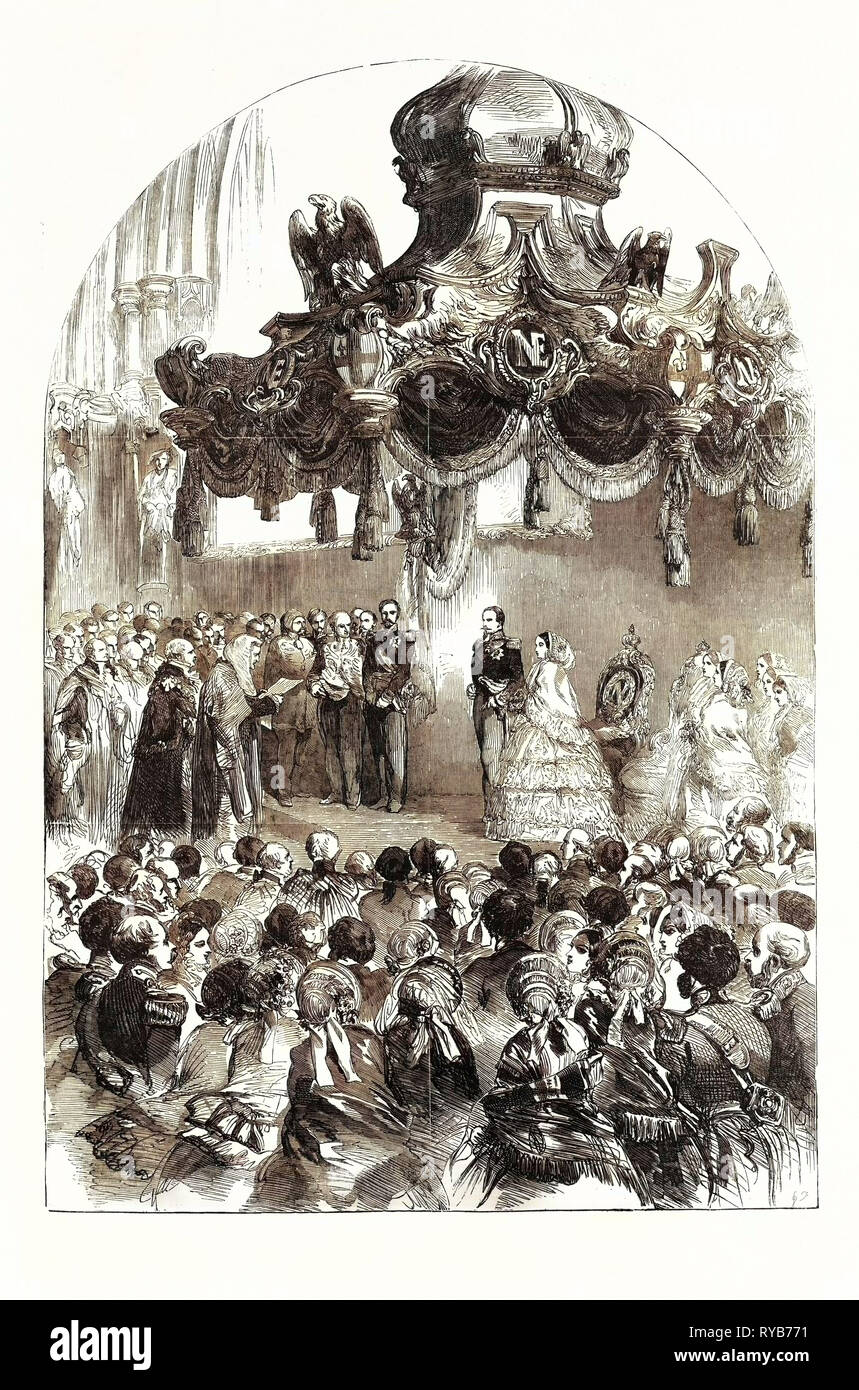 The Grand Reception of the Emperor and Empress of the French, by the Lord Mayor and Corporation, in the Guildhall, London. The Recorder Reading the Address. UK, 1855 - Stock Image