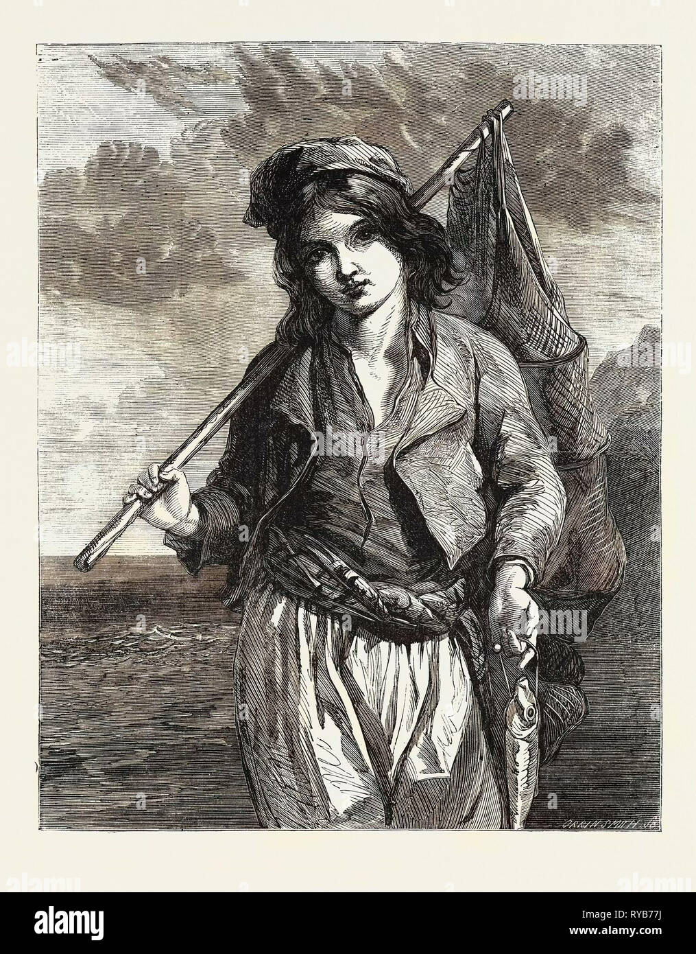 A Neapolitan Fisher Boy., Exhibition of the Society of British Artists in Suffolk Street, London, UK, 1855 - Stock Image