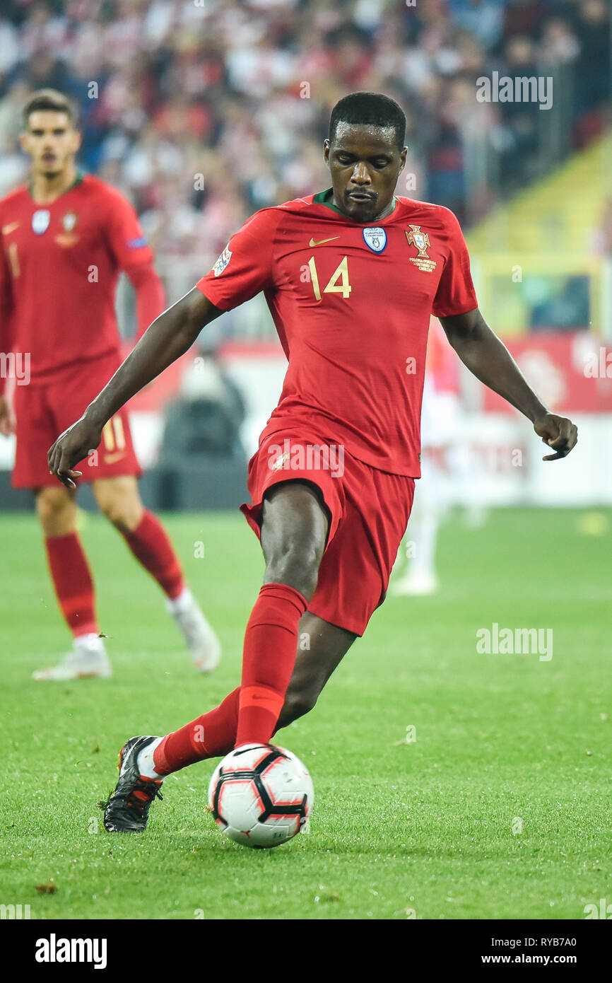 CHORZOW, POLAND - OCTOBER 11, 2018: Football Nations League division A group 3 match Poland vs Portugal 2:3 . In the picture William Carvalho. - Stock Image