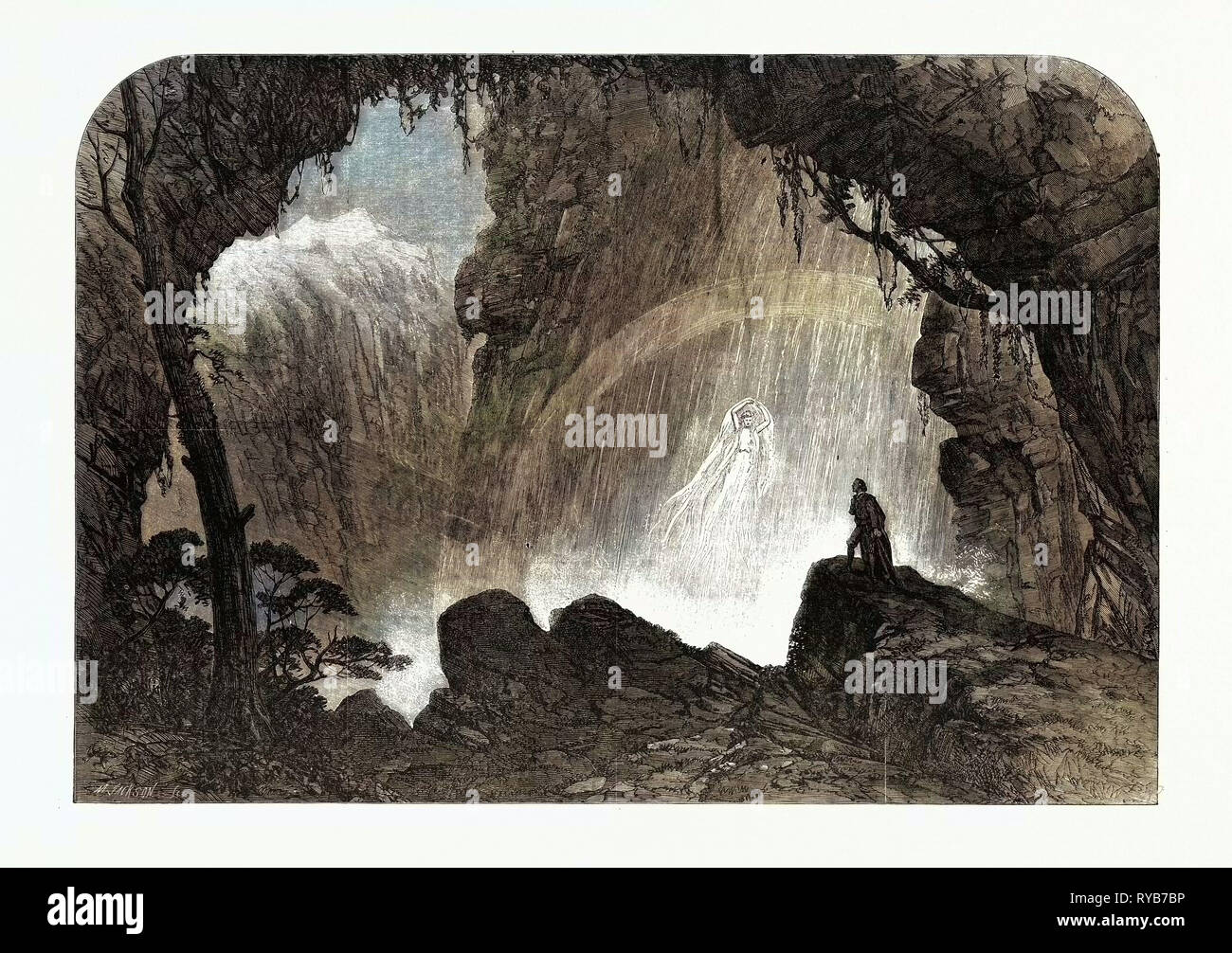 Scene from 'Manfred,' at Drury Lane Theatre: The Steinbach Waterfall. Haunt of the Witch of the Alps, 1863 - Stock Image