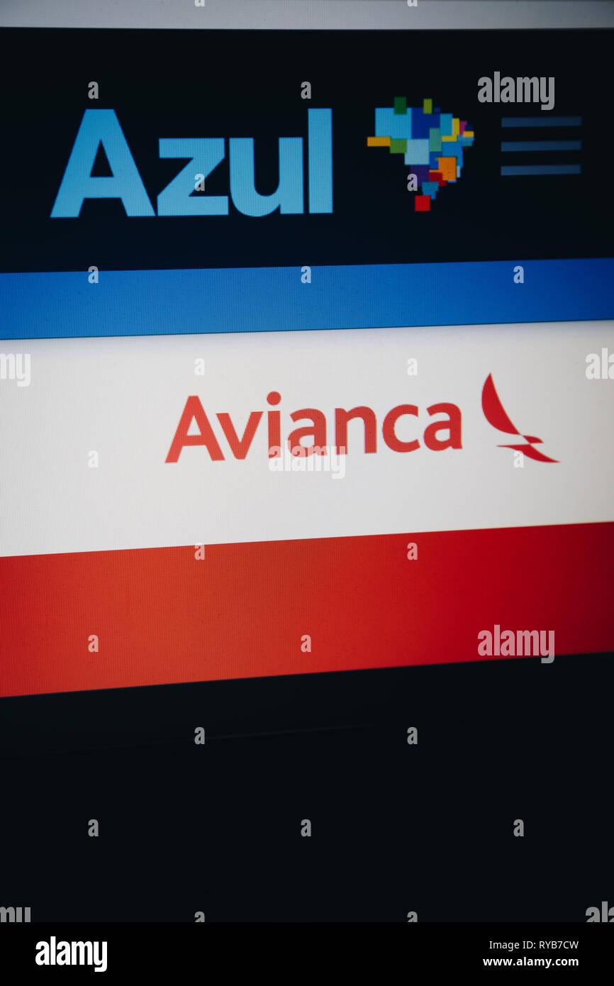 Logos of airline companies Azul and Avianca are seen on their respective websites. Brazilian airline Azul Linhas Aereas Brasileiras S/A (Azul Brazilia - Stock Image
