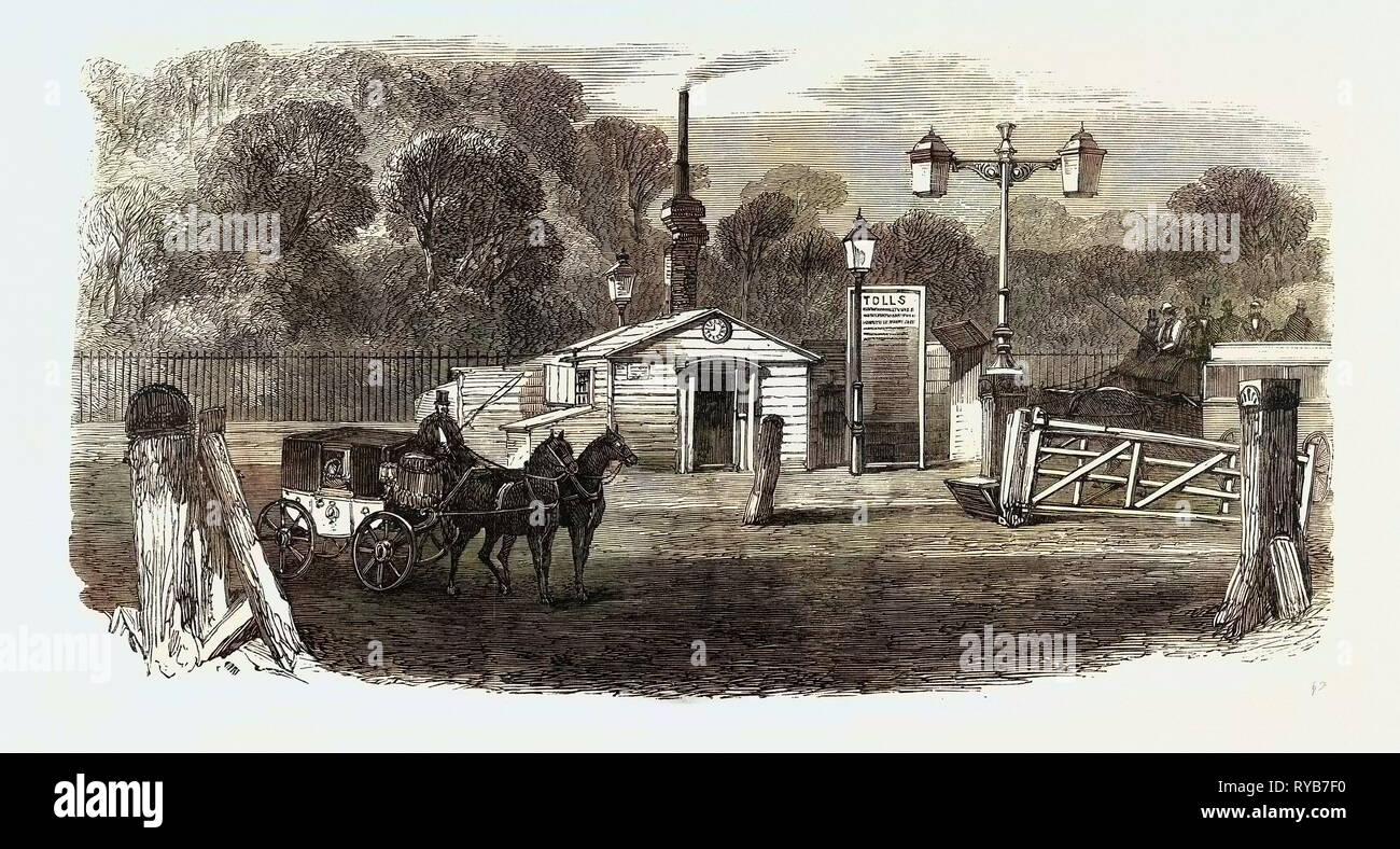 Turnpike Gates in and Near London Just Demolished: Kensington Gate, UK, 1864 - Stock Image