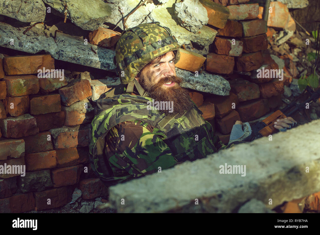 Soldier with angry face - Stock Image