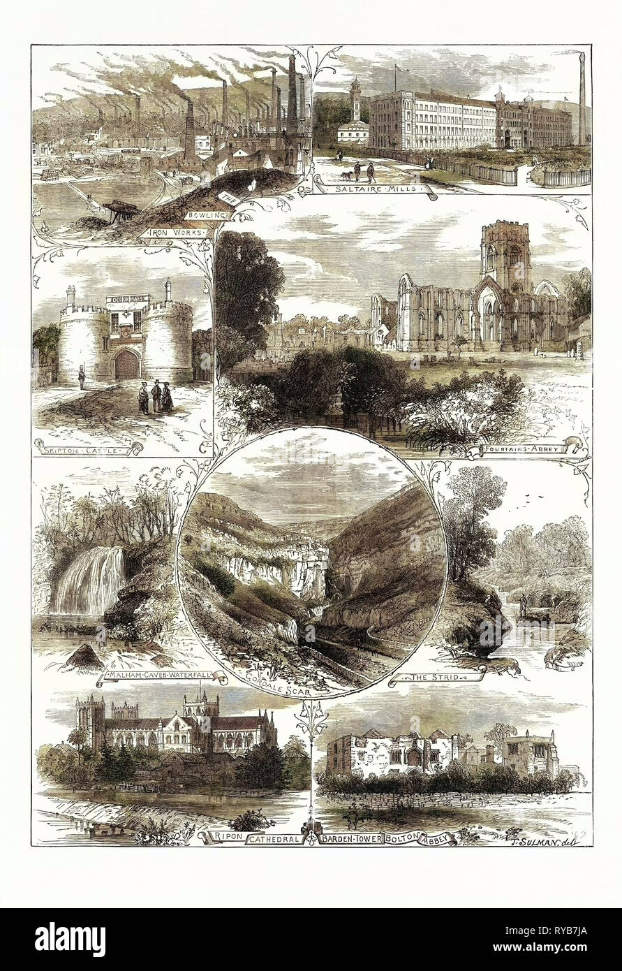 Places Near Bradford Visited by the British Association, 1873. Skipton Castle, Saltaire Mills, Fountains Abbey, Malham Caves Waterfall, Ripon Cathedral, Barden Tower, Bolton Abbey, the Strid, Iron Works - Stock Image