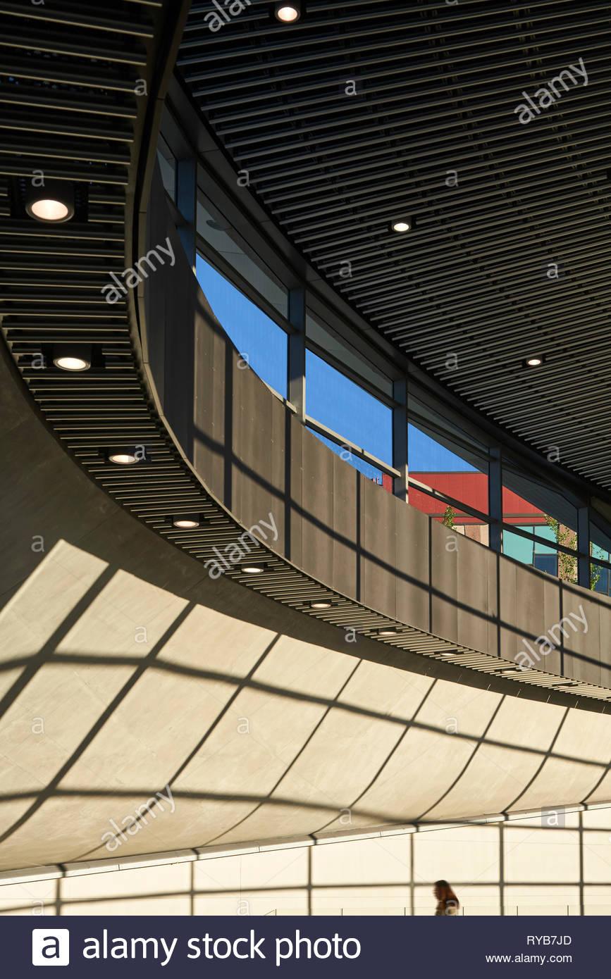 Sunlit entrance foyer of station. York University Subway Station, Toronto, Canada. Architect: Foster + Partners, 2018. - Stock Image