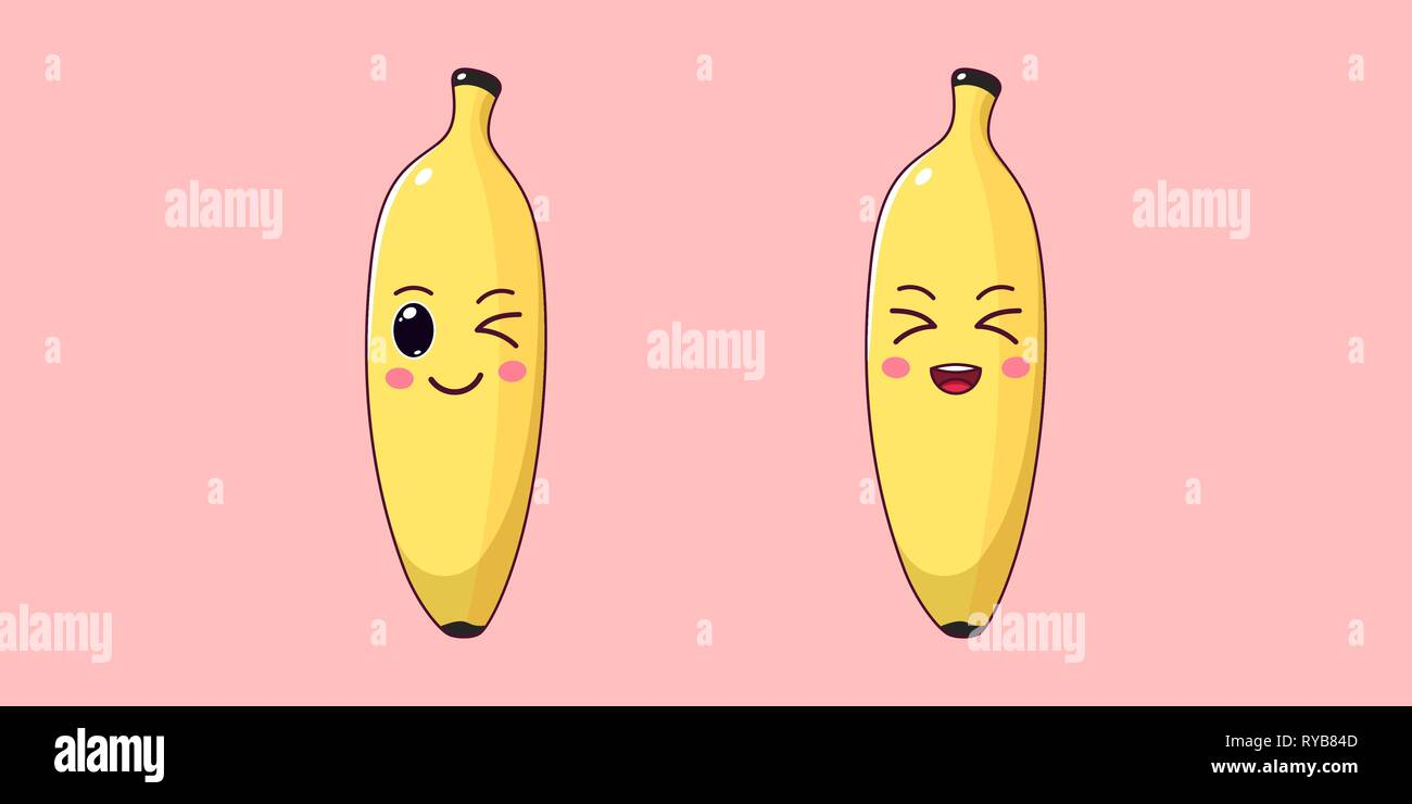Cute Kawaii Banana, Cartoon Ripe Fruit. Vector illustration of Cartoon Yellow Banana with Winking and Laughing Face, Funny Emoji. Gentle Fruity Sticke - Stock Vector