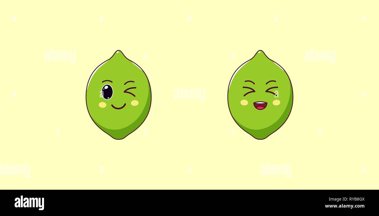 5790c8e21 Cute Kawaii Lime, Cartoon Ripe Fruit. Vector illustration of Cartoon Green  Lime with Winking and Laughing Face, Funny Emoji. Juicy Citrus Sticker. Pri