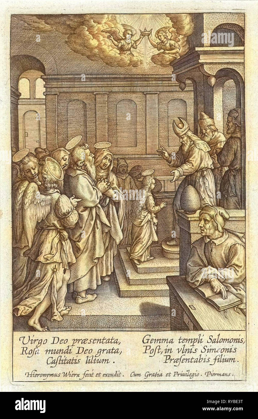 Presentation of Mary in the Temple, print maker: Hieronymus Wierix, 1563 - before 1619 - Stock Image