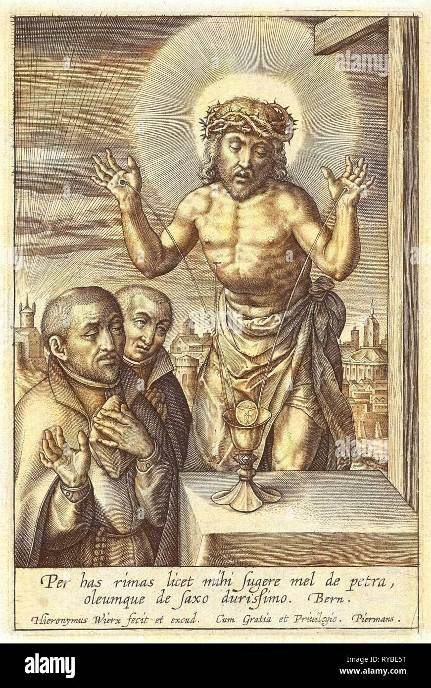 Blood of Christ received in chalice, Hieronymus Wierix, 1563 - before 1619, print maker: Hieronymus Wierix, Piermans, 1563 - before 1619 - Stock Image