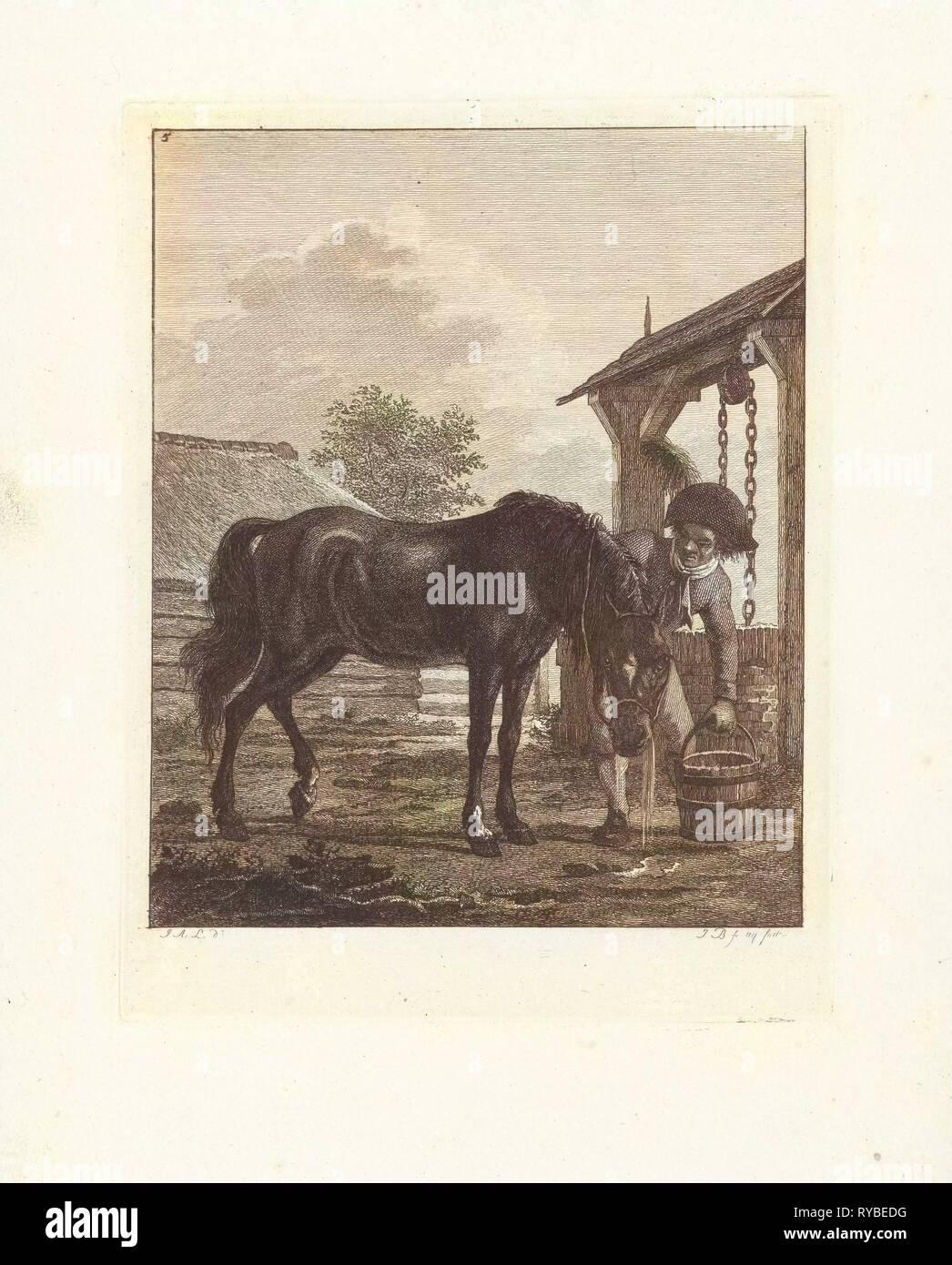 A man and a horse near a well, print maker: Joannes Bemme, Jan Anthonie Langendijk Dzn, 1802 - Stock Image