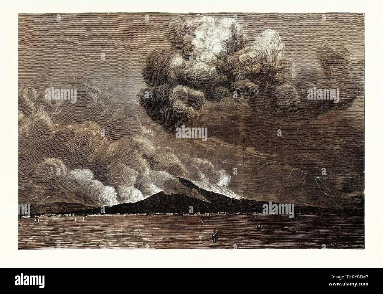 MOUNT VESUVIUS VOLCANO ERUPTING POPULACE ATTACKING THE SAN GENNARO STATUE