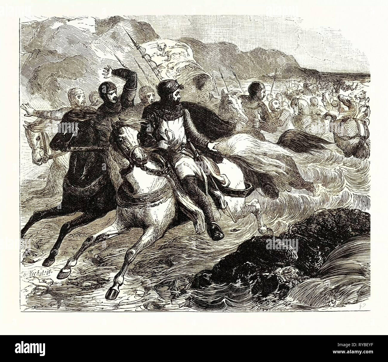 The Disaster to John's Army at the Wash - Stock Image