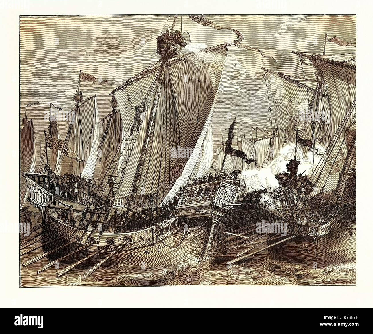 Defeat of the French Fleet in the English Channel - Stock Image