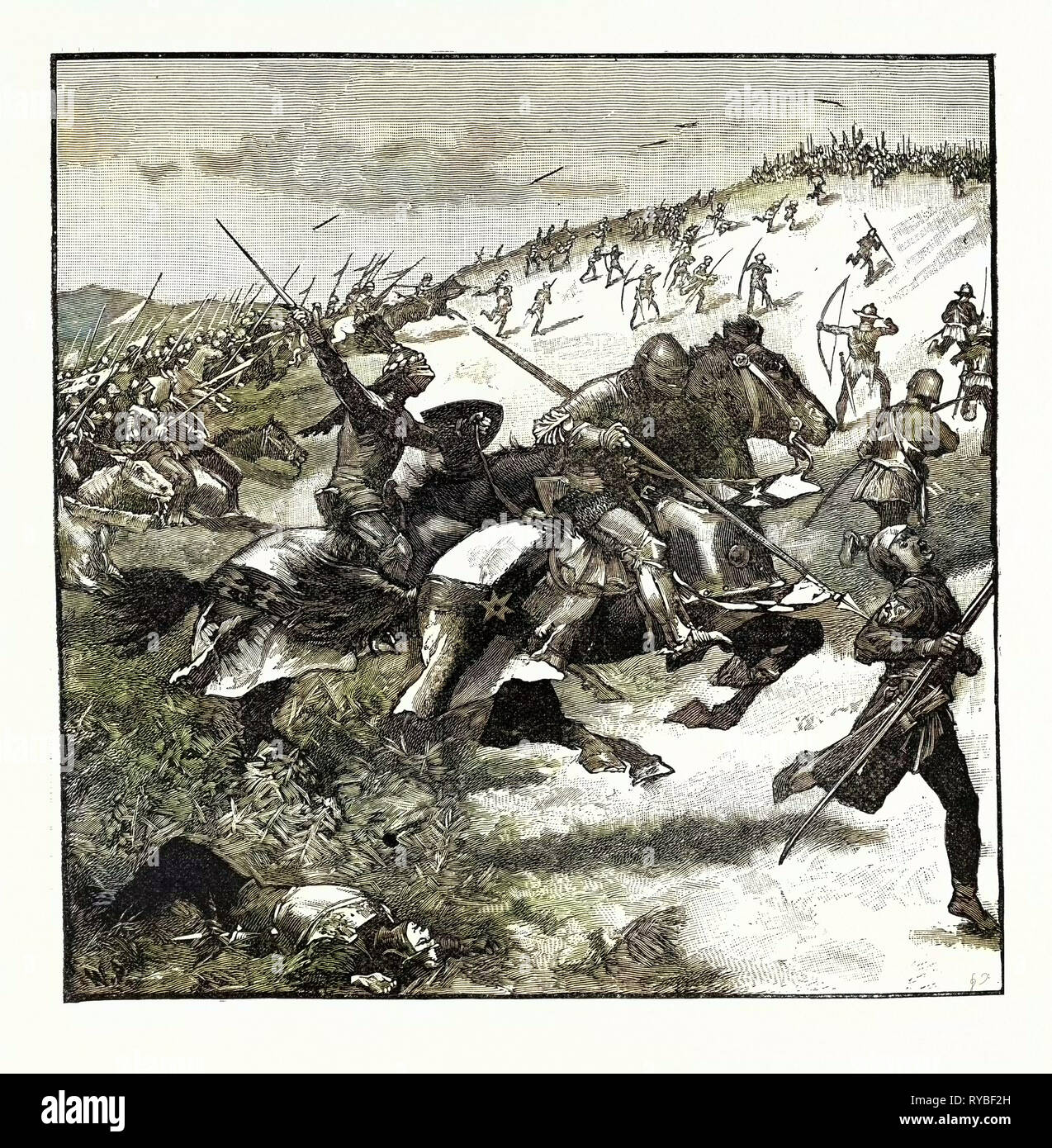 Charge of the Scots at Homildon Hill - Stock Image