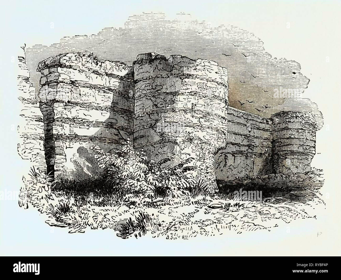 Roman Masonry Remains of Fortress Walls in Britain - Stock Image