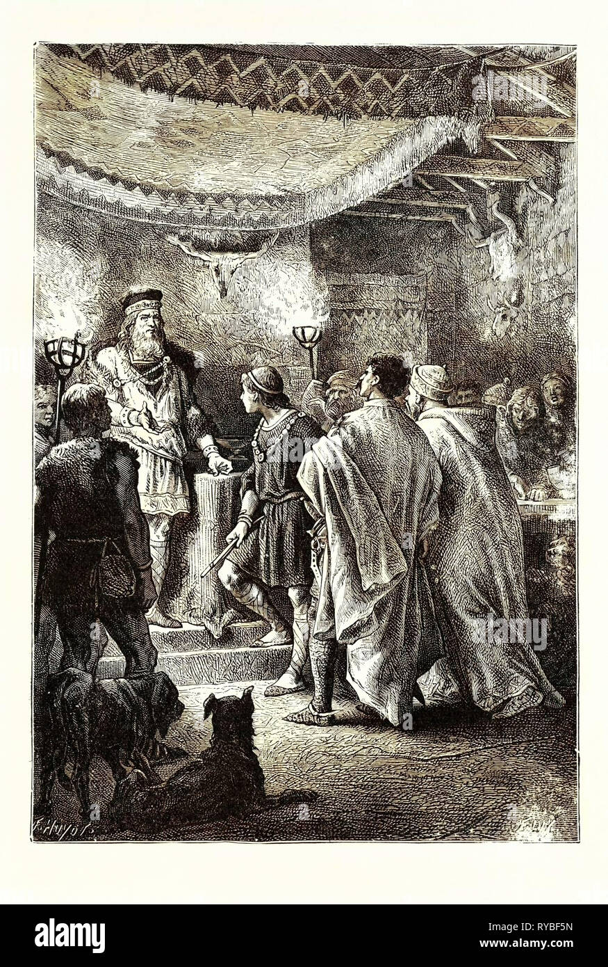 Saxon Noble Receiving Stranger Guests in His Hall - Stock Image