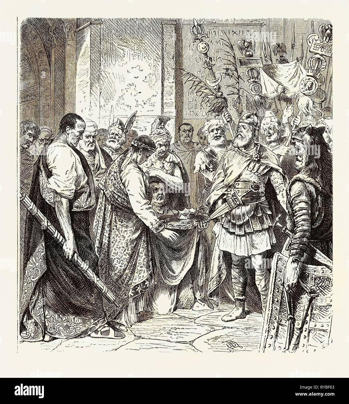 Augustulus the Last Roman Emperor Surrenders to Odoacer Stock Photo