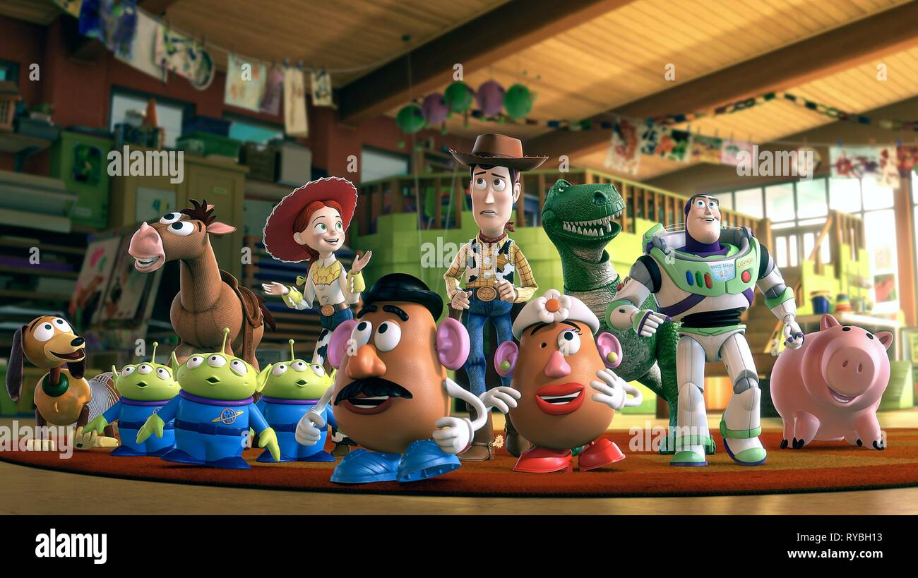 SLINKY, ALIENS, BULLSEYE, JESSIE, MR. POTATO HEAD, WOODY, MRS. POTATO HEAD, REX, BUZZ LIGHTYEAR,HAMM THE PIGGY BANK, TOY STORY 3, 2010 - Stock Image