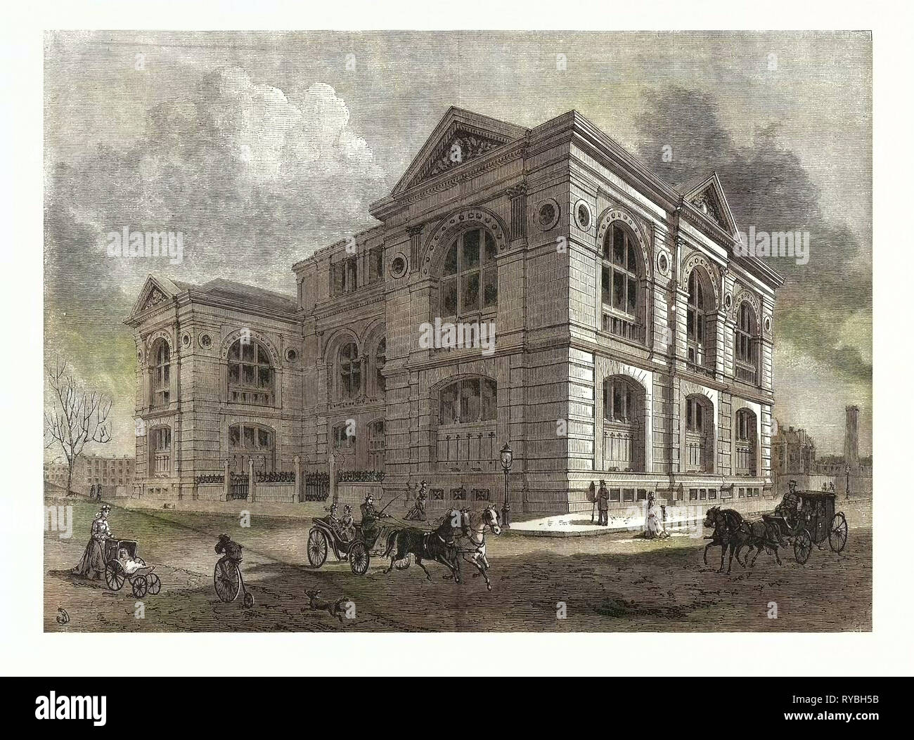 The Lenox Library, Fifth Avenue, New York City. US, USA, America, United States, American, Engraving 1880 - Stock Image