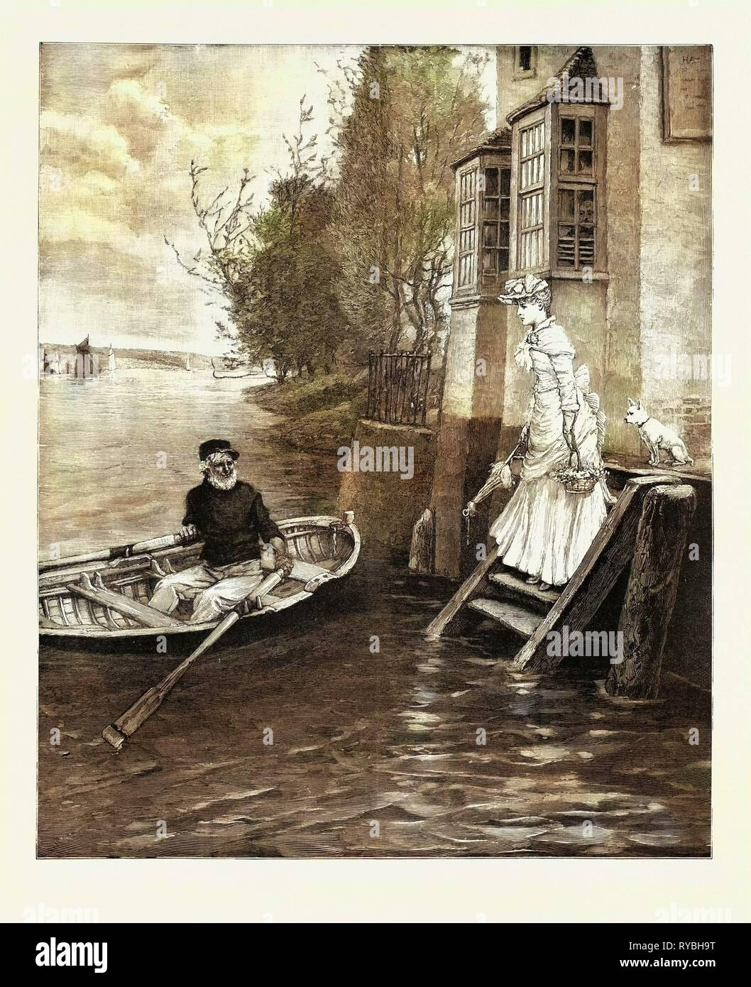 The Ferry, a Dainty Fare, 1890 Engraving - Stock Image