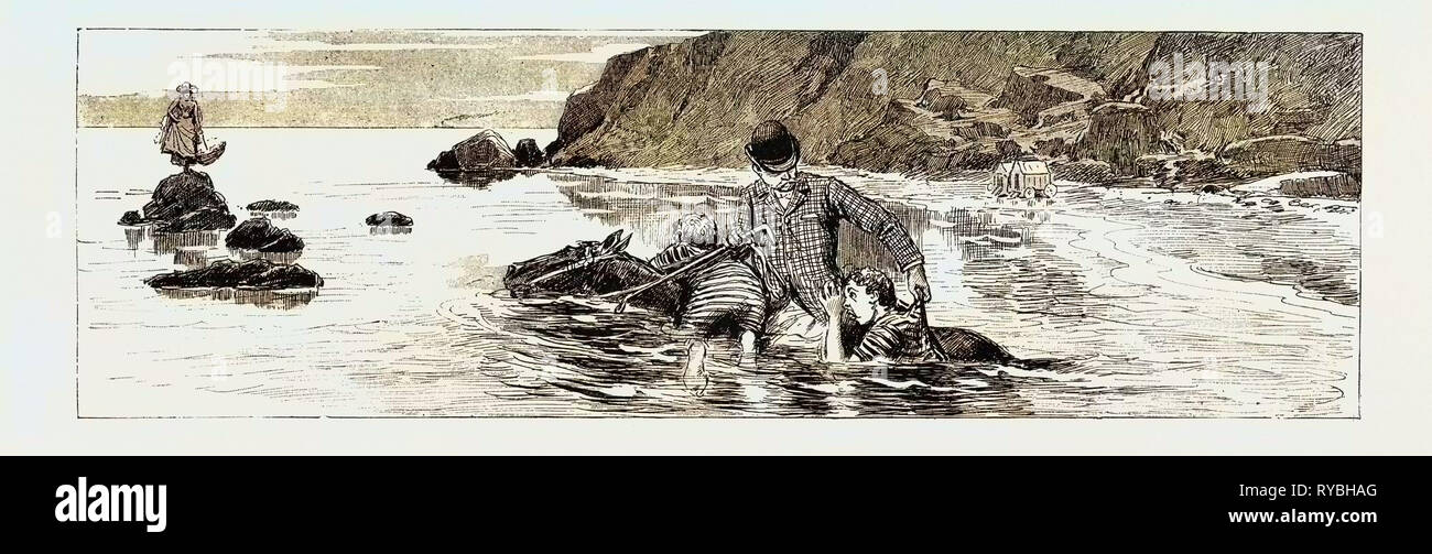 A Tale of the Sea: Discretion is the Better Part of Valour, which the Twins, Unable to Swim, Should Have Remembered, 1890 Engraving - Stock Image