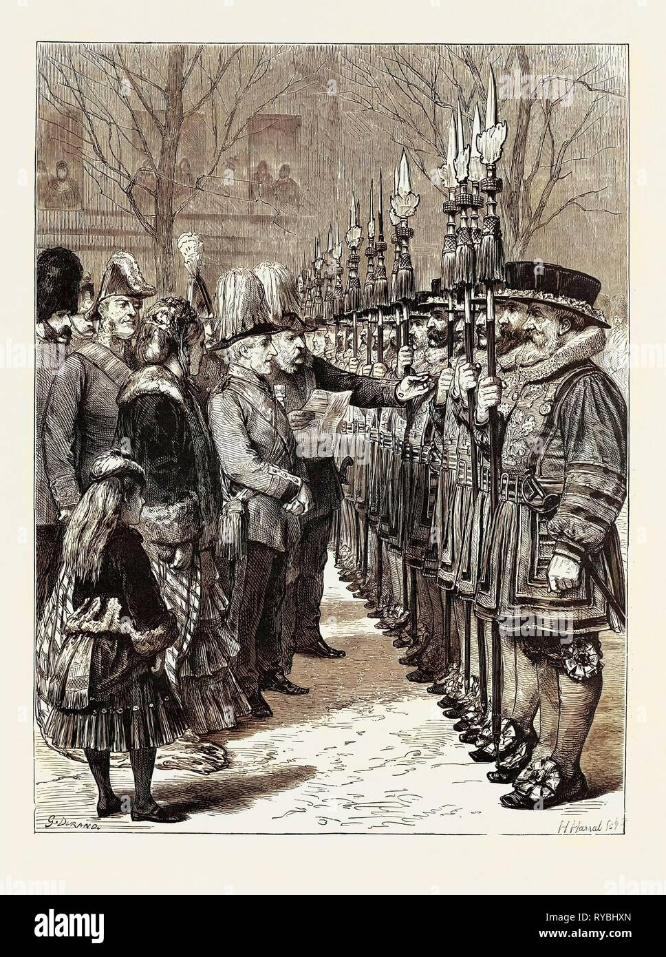 Installation of Sir W.M. Gomm, G.C.B., G.C.S.I., As Constable of the Tower, Inspecting the Beefeaters, London - Stock Image