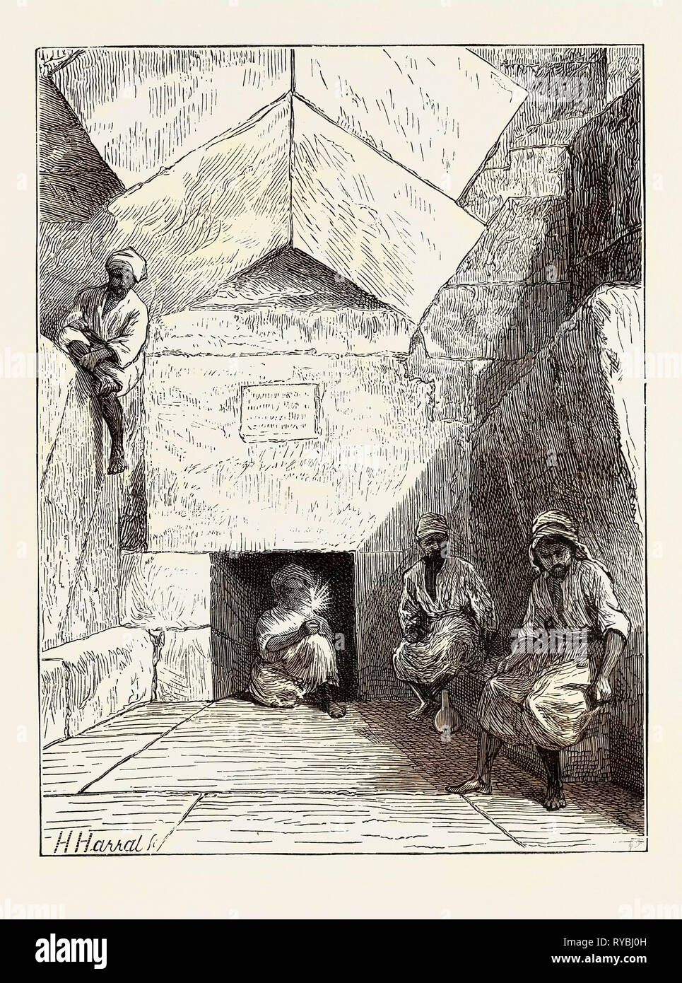 Discoveries in the Great Egyptian Pyramid: The Entrance - Stock Image