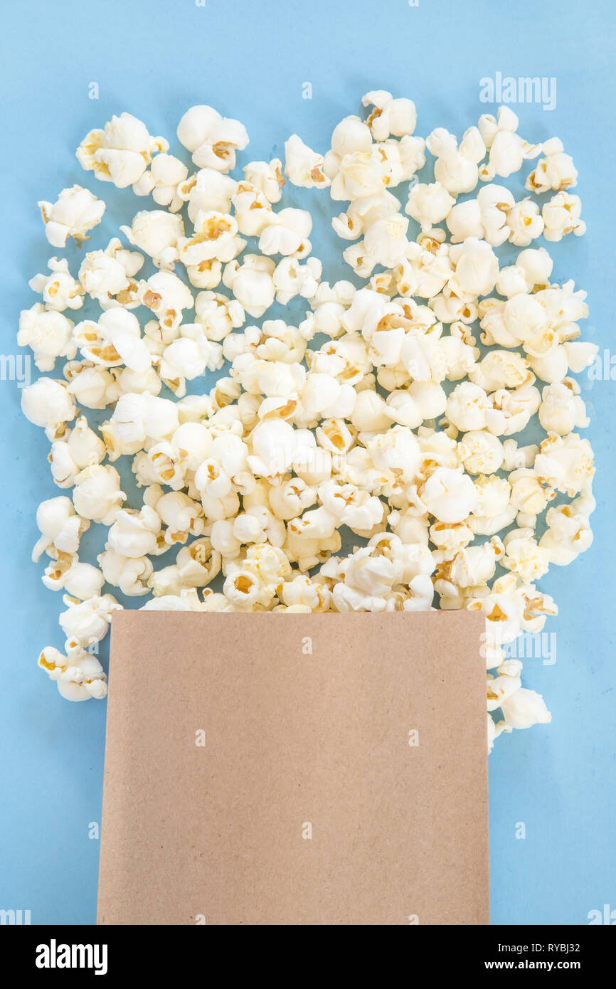 Popcorn in a paper bag Stock Photo