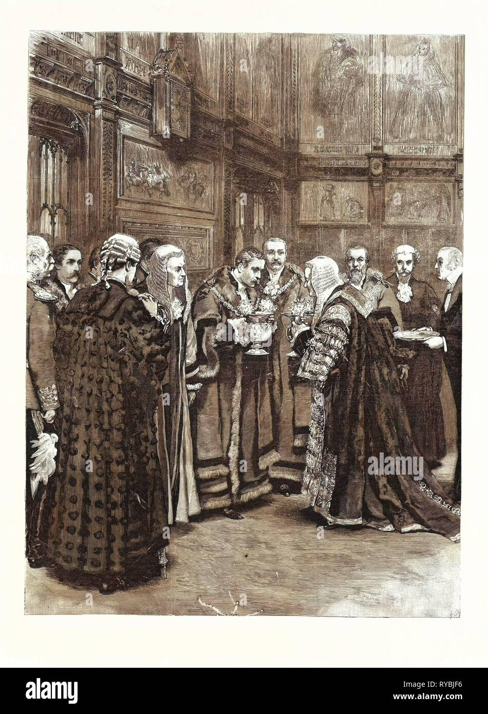 The Lord Chancellor Expressing Her Majesty's Approval of the Election of Mr. Alderman Evans As Lord Mayor Presenting the Loving Cup in the Princes' Chamber of the House of Lords - Stock Image