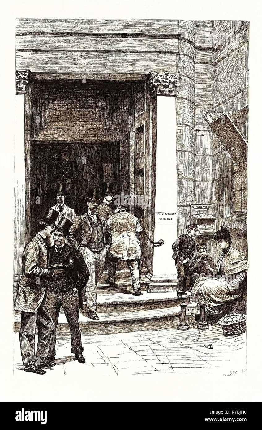The London Stock Exchange, the Entrance in Capel Court: 'the Entrance Was Opened in 1801, and is the Oldest Part of the Building. Only Members Are Allowed Entrance - Stock Image