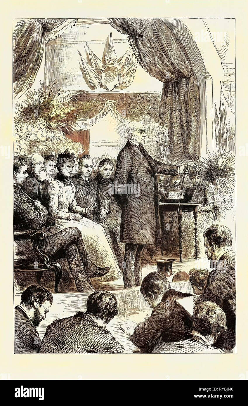 Mr. Gladstone Opening a New Hall at Port Sunlight, Cheshire: 'This Hall Means Relief from Toil in the First Place, Though Not Exclusively. Labour is the Lot of Man, Labour is the Burden of Man, Labour is, and, I Fear, Long May Be in Many of Its Branches, a Severe and Heavy Burden, Although I Rejoice to Think that It is Lighter Far Than It Was During the Early Years of My Life for Nearly the Whole, If Not the Whole, of the Labouring Population - Stock Image
