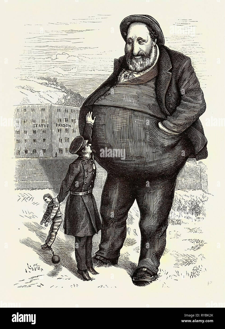 The New York Tammany Frauds: Can the Law Reach Him? the Dwarf and the Giant Thief Stock Photo