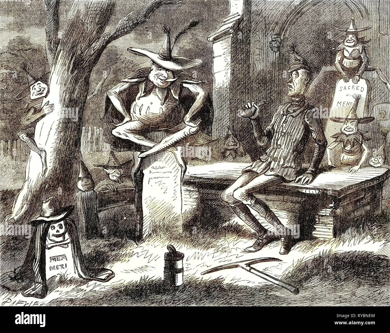 Pickwick Papers Seated on an Upright Tombstone Close to Him Was a Strange Unearthly Figure - Stock Image