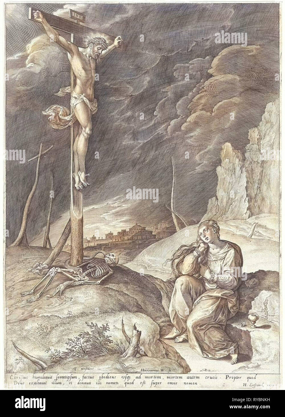 Triumphant Christ on the cross, Hieronymus Wierix, Hans Liefrinck (I), 1563 - before 1573 - Stock Image