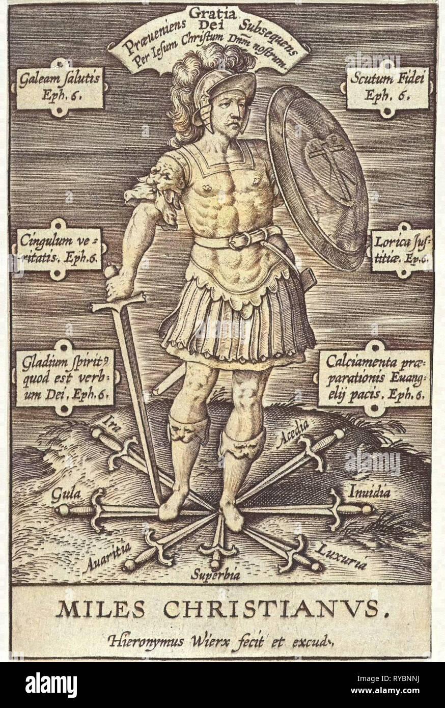 Christian Knight, Hieronymus Wierix, Girolamo Olgiati, 1563 - before 1619 - Stock Image