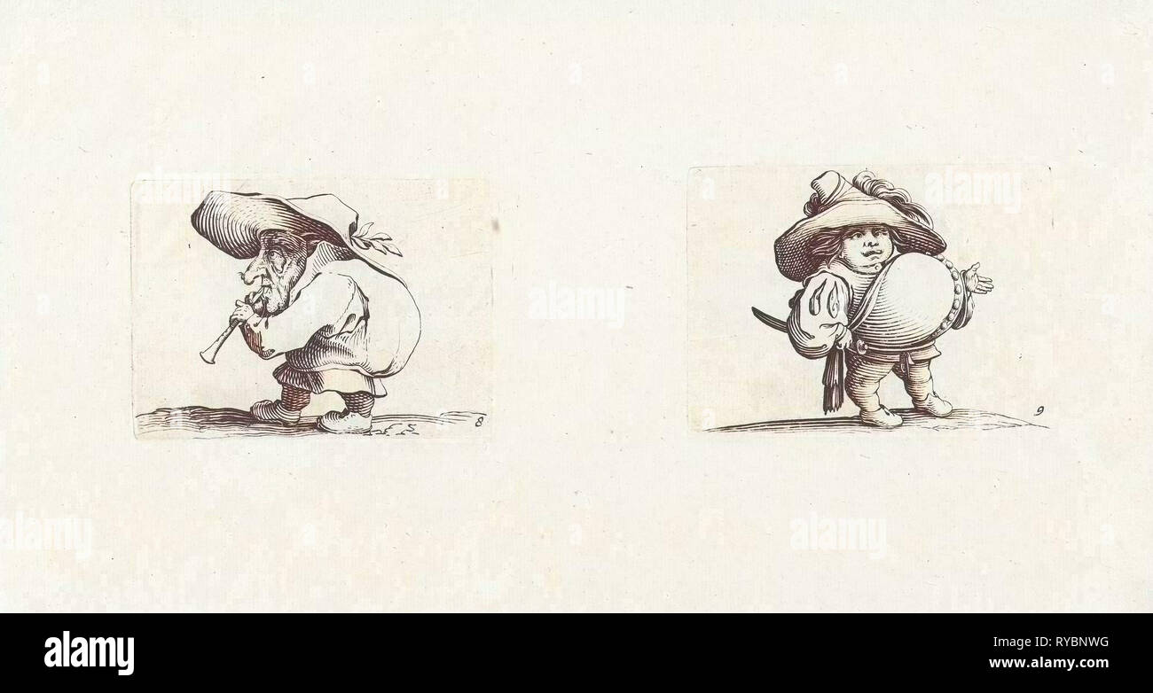 Dwarf with flute (flageolet), Dwarf with sword, a row of buttons on the belly, Jacques Callot, Abraham Bosse, 1621 - 1676 - Stock Image
