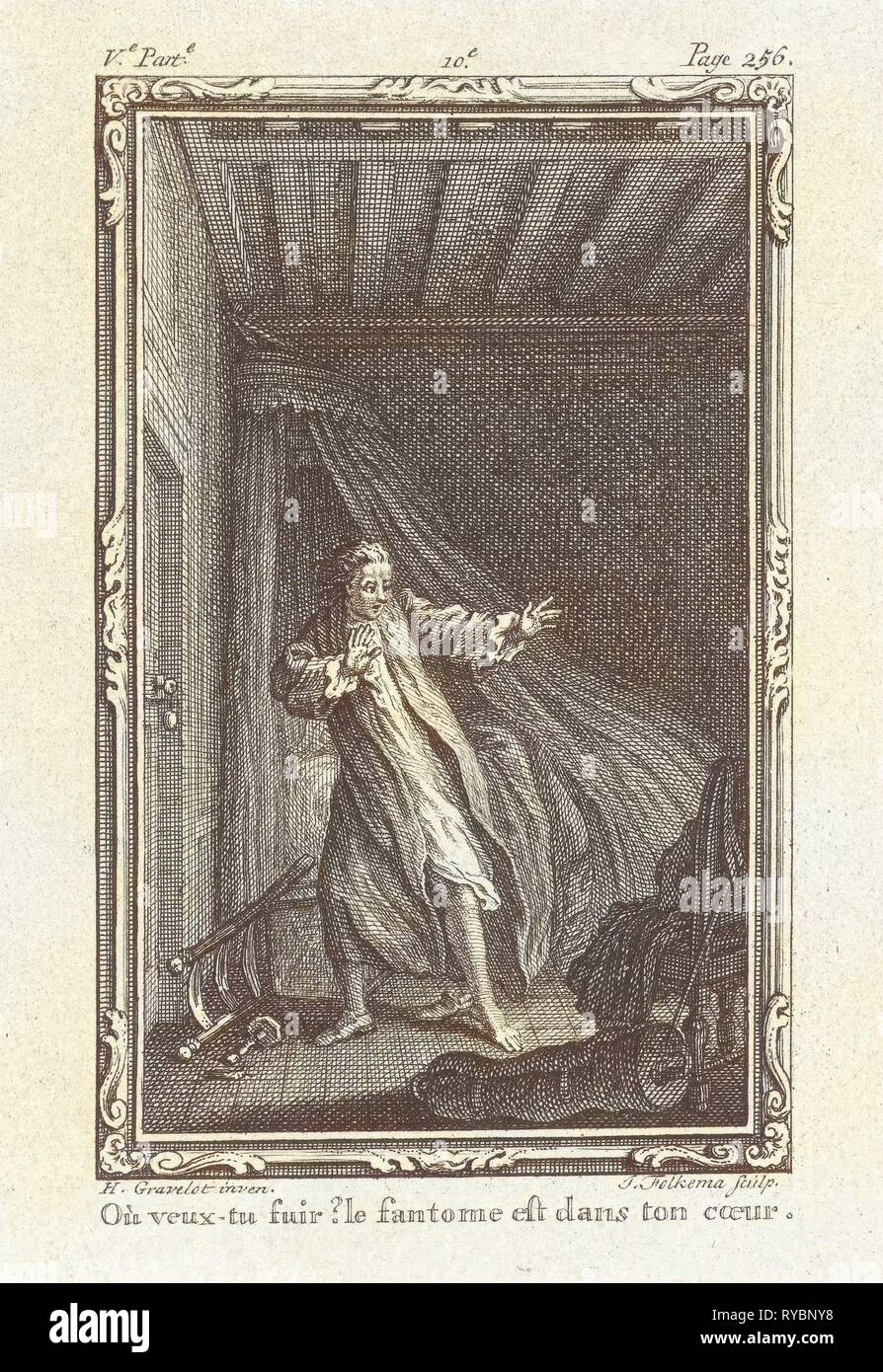 Frightened man in a bedroom, Jacob Folkema, 1761 - Stock Image