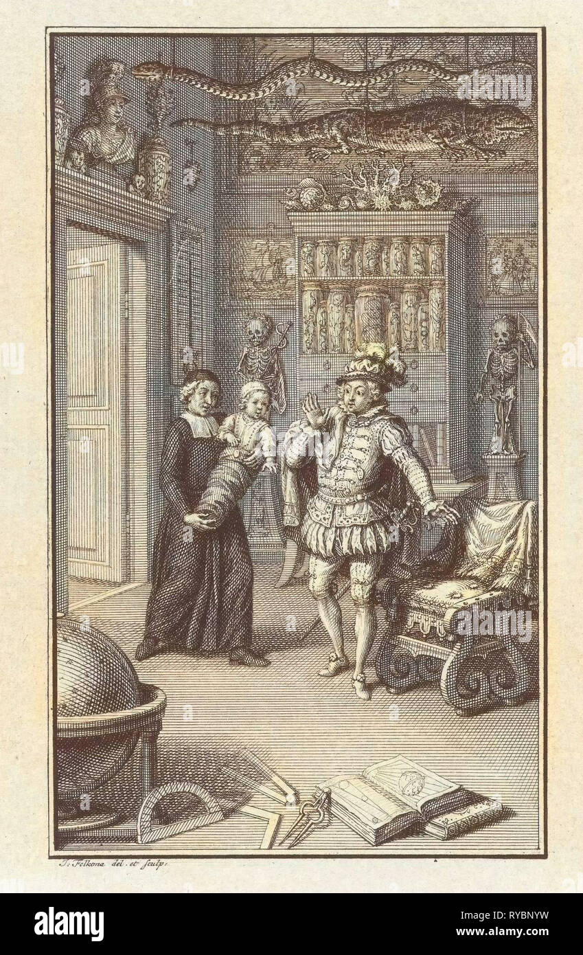 A nobleman and a cleric with a child in a cabinet of curiosities, Jacob Folkema, 1702-1767 - Stock Image