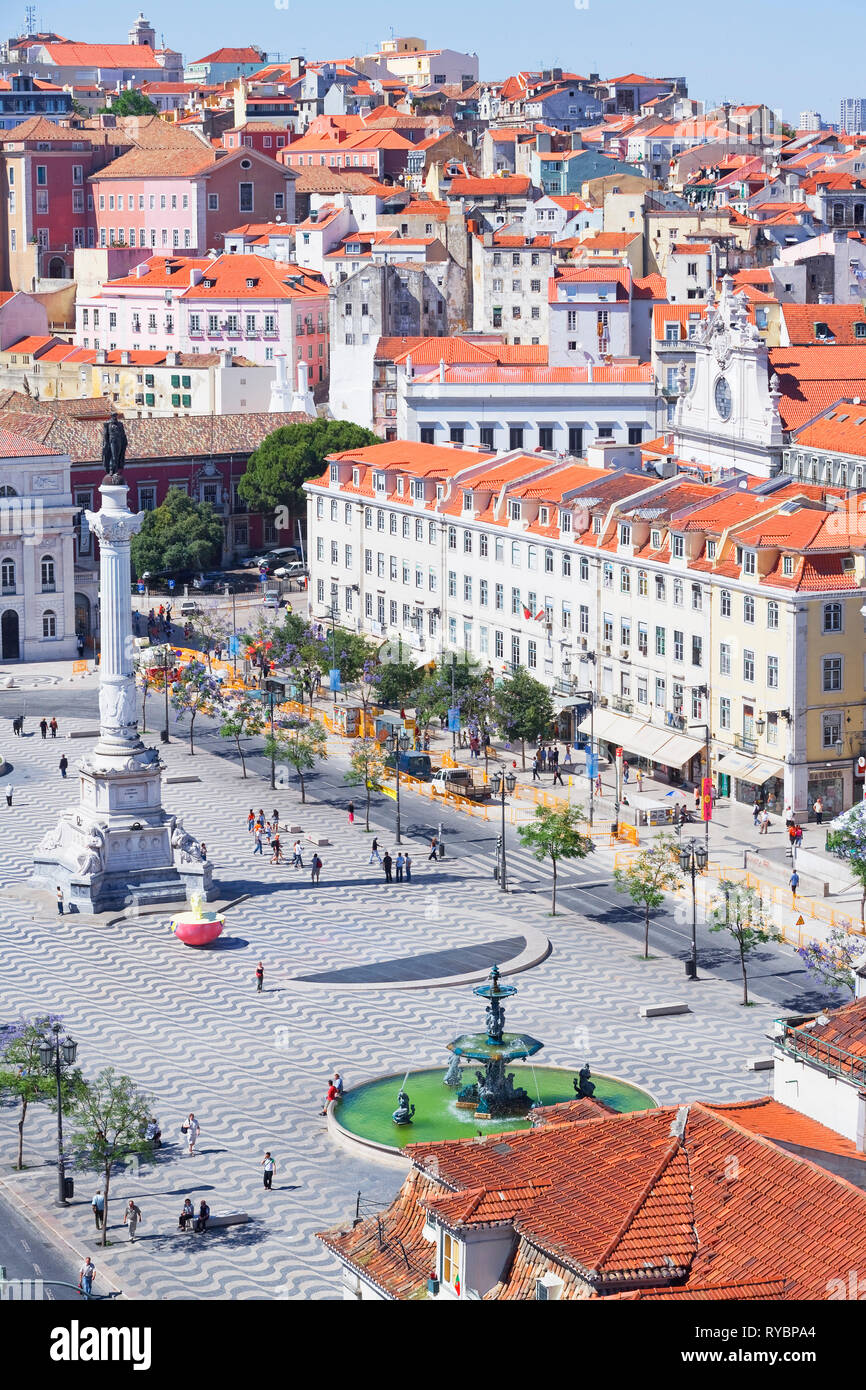 Top view of Praca Dom Pedro IV (Rossio Square) and city centre, Lisbon, Portugal, Europe - Stock Image