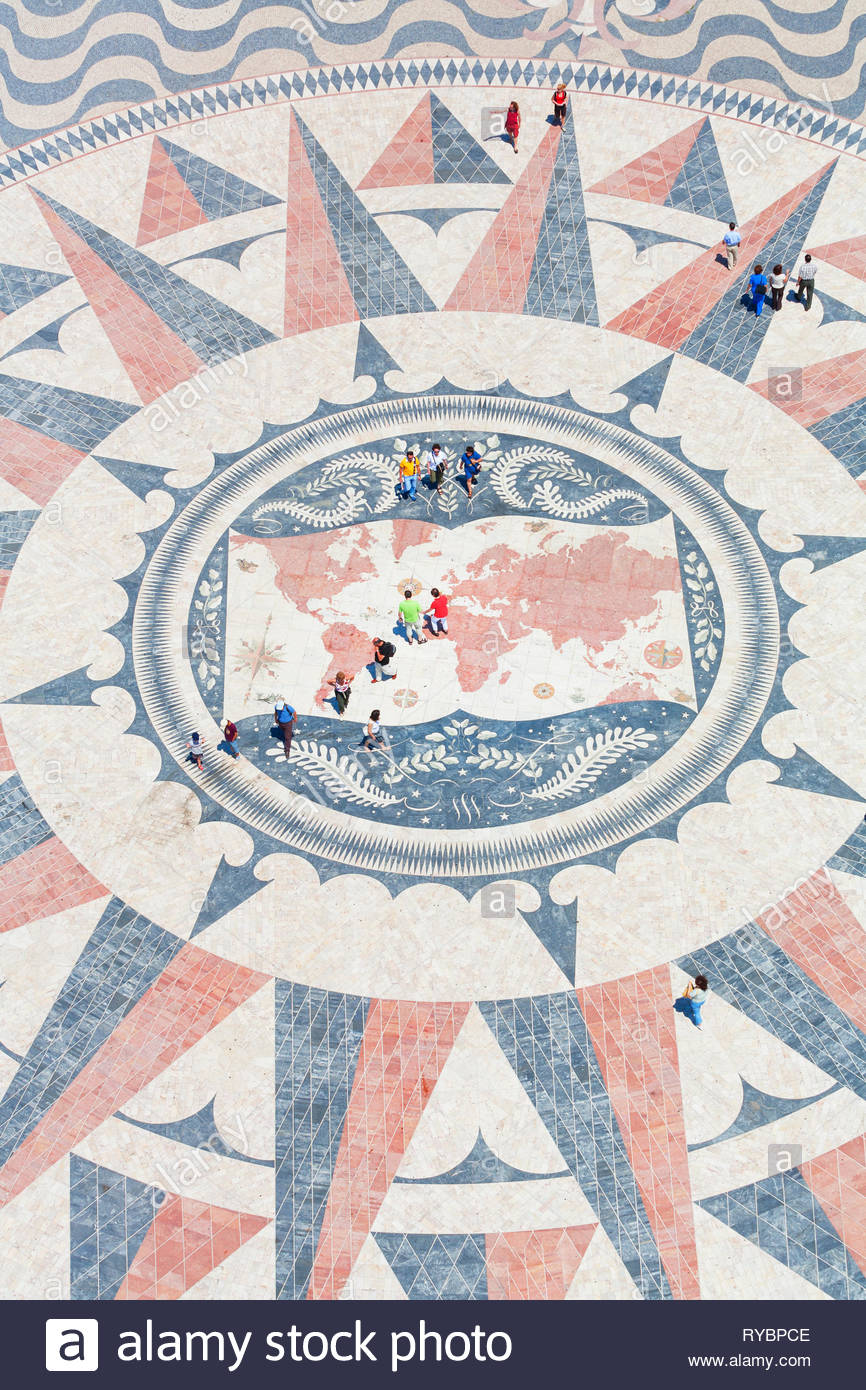 Mosaic compass, Monument to the Discoveries, Belem, Lisbon, Portugal, Europe - Stock Image