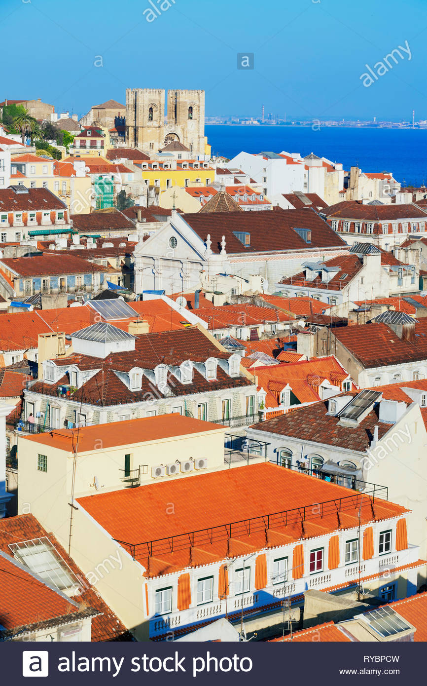 High angle view of Lisbon old centre, Lisbon, Portugal, Europe - Stock Image