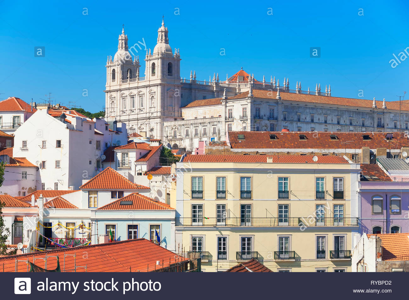 View of San Vincente de Fora church and Alfama neighbourhood, Lisbon, Portugal, Europe - Stock Image