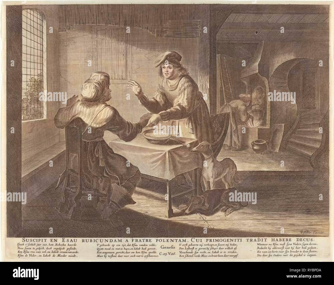 Esau sells his birthright to Jacob, print maker: Anonymous, Claes Jansz. Visscher II, Nicolaes Visscher I, 1630 - 1652 and/or 1630 - 1702 - Stock Image