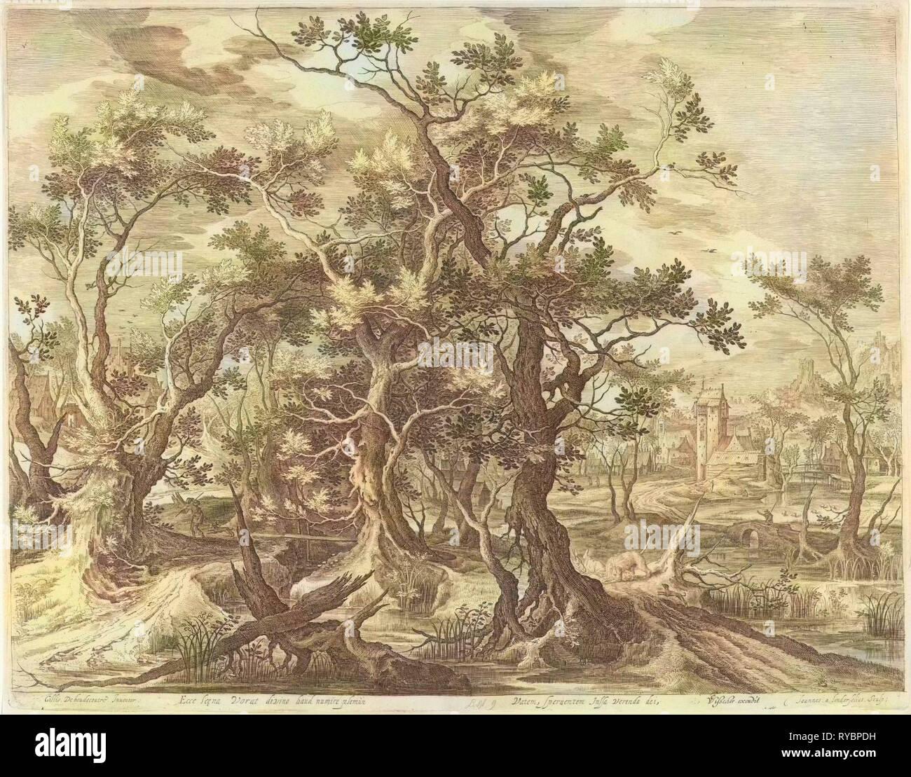 Landscape with a prophet torn by a lion from Judah, print maker: Jan van Londerseel, Gillis Claesz. de Hondecoeter, Claes Jansz. Visscher II, 1601 - 1652 - Stock Image