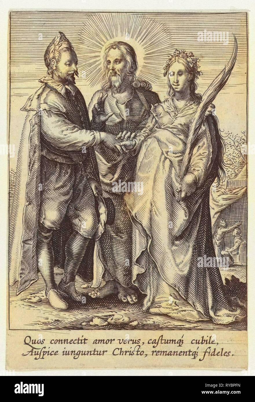 Marriage of spiritual love, Jan Saenredam, Anonymous, Hendrick Goltzius, 1575-1657 - Stock Image